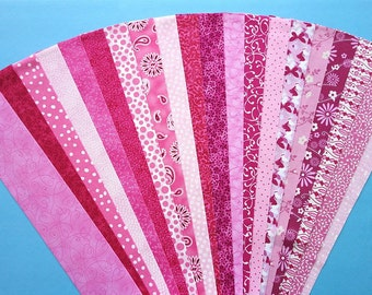 Pink Jelly Roll Strip Pack Fabric Quilt Strips Quilting Sewing Patchwork Cotton Material Die Cut No Duplicates (sku JR120-PINK)