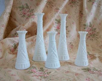 Milk Glass Vase Collection Set of 5 Milk Glass Vases, Wedding Vases Party Reception Vases Bridal Shabby Cottage Chic Farmhouse Style