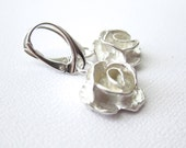SALE Rose Earrings, Silver Earrings, Minimalist Metalwork, Leverback Earrings