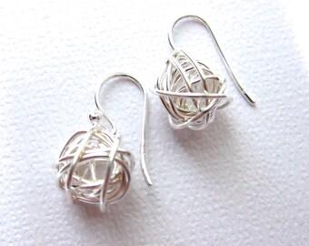 Dangle Drop Earrings, Sterling Silver Earrings, Modern Jewelry, Short earrings, Wired ball