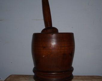 Mortar Pestal American Antique Wood Wooden Primitive Treen Vessel Masher Herbs 19th Century 1800's