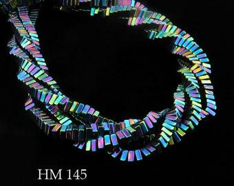 4mm Rainbow Coated Hematite Square Heishi Beads Multicolored Finish 4mm x 4mm (HM 145) 190pcs BlueEchoBeads