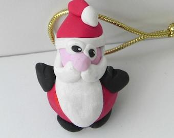 Santa ornament / santa claus decor / mini sculpture / decoration / clay figure / Holiday / miniature / O234