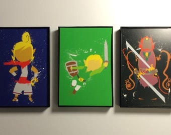 Framed Legend of Zelda - Windwaker 4x6 Print Trio