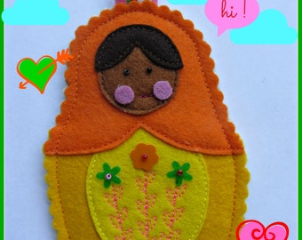 Orange/Yellow Felt Nesting Doll Matryoshka Bag Charm