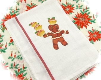 "Gingerbread Man & Cupcakes Christmas Dish Towel w/ Vintage Image ""Christmas Card Dish Towel Collection"" Fab Stocking Stuffer Kitchen Decor"