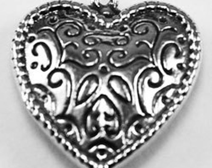 Solid Patterned Heart, Double Sided Heart  pendant 1 bail Australian Pewter   H11