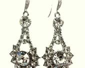 Geometric Bridal Earrings, Art Deco Earrings, Swarovski Crystal Earrings, Gold or Silver Jewelry, RAYS