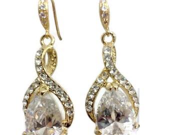 Bridal Earrings, Gold Infinity Wedding Jewelry, Cubic Zirconia Cz Teardrop Earrings, TWIRL