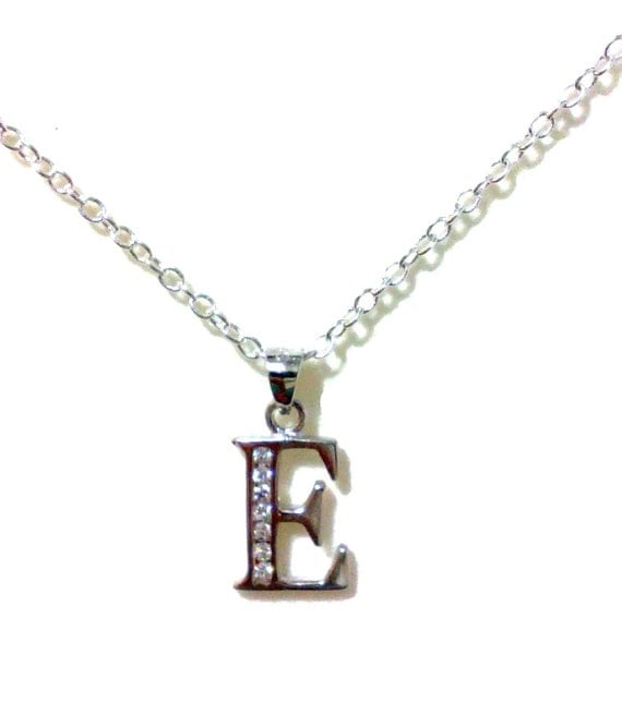 18th Birthday Cz T Bar Sterling Silver Heart Bracelet Can: Letter E Necklace Initial Necklace Alphabet Necklace By