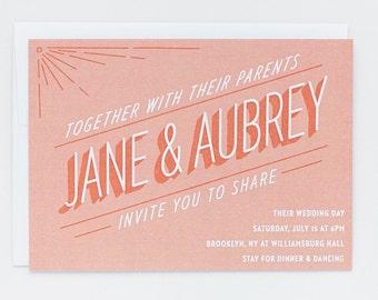 Wedding Invitation - Sherbert Lettering Invite set