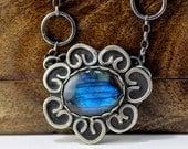 xX ON SALE Xx Sterling silver and labradorite cabochon necklace with Hallmark - Midnight Flourish -