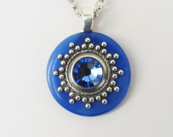 Stained Glass Pendant Necklace Blue, Stained Glass Jewelry