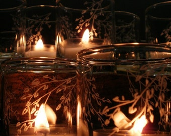 4 'Branches and Leaves' Hand Engraved Glass Votive Holders Party Favors Spring Home Decor