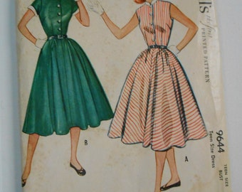Vintage 50s Full Skirt Shirtwaist Dress Pattern McCalls 9644 Size 14 Bust 32