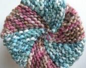 Knit hat, women's pinwheel winter cap, teal blue green rose pink brown, S-M thick warm wool hand knit ski snow beanie teen girl adult i701