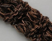 """Wide headband, 2 1/2"""" stretch hand knit, military button, brown gray gold cotton, adult women woman teenager girl hair band, dread wrap i971"""