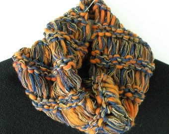 Scarf knit cowl orange blue University of Illinois Syracuse college sports team Denver Chicago crochet men women wool winter hood dread i415