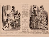 January 1873 Frank Leslie's Lady's Magazine Page Ladies Fashions Engravings Dresses Walking /  Costumes Illustration