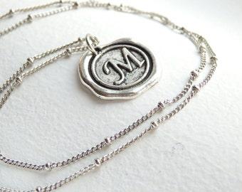 Antique Silver Wax Seal - M - Monogram Necklace