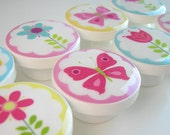 Flower Garden Knobs, Pink, Yellow, Blue Butterflies and Flower Drawer Knobs, Handmade Knobs- Wood Knobs- 1 1/2 Inches - Made to order