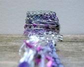 moonbeam fiber effects™  art yarn bundle 12yd specialty fibers ribbon embellishment pack . lavender purple white opal silver sparkle