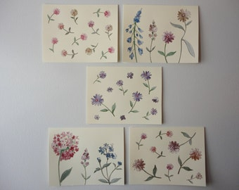 Summer Garden, Set of 5 Note Cards, Original Hand Cut Vintage Wallpaper, OOAK, Handmade, Applique Flowers, Purple Blue Pink Pastel, Spring