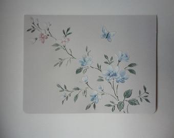 Pastel Flowers Original Hand Cut Vintage Wallpaper Note Card, OOAK, Blue Pink Green, Thinking of You, Friendship, Sympathy, Spring, Summer