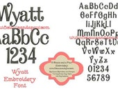 Wyatt Embroidery Font Includes 6 Sizes
