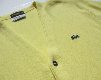 Vintage IZOD Lacoste Yellow Mens Button Down Cardigan Sweater Woolf Brothers