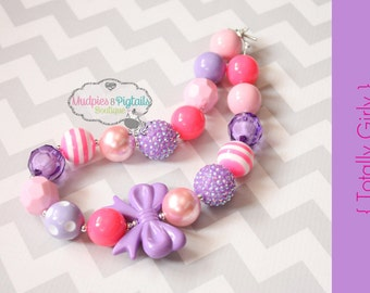 Chunky necklace { Totally Girly } neon pink, pink and purple Easter, First Birthday, Cake smash, Spring baby photography prop
