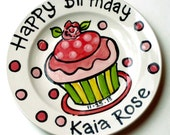 "7"" Sweet little rose Happy Birthday cupcake personalized Plate custom ceramic"