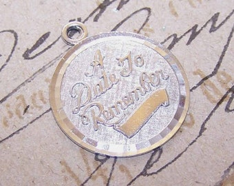 Vintage STERLING SILVER Disc Charm by La Mode - A Date to Remember