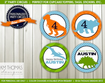 Dino-mite: Party Circles, Cupcakes Toppers - by KM Thomas Designs Item 157