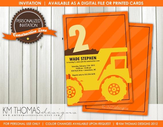 Printable Construction Birthday Invitation - Boy Birthday Invitation - Dump Truck Invitation - Work Truck Party Theme - Orange - BD103