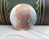 Sherlock silhouette metalwork necklace - sterling silver and cooper necklace