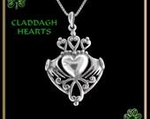 Claddagh Hearts Pendant Irish Wedding Love Token