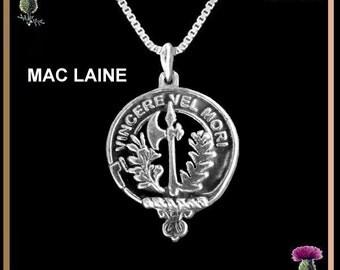 Mac Laine Clan Crest Scottish Pendant, Scottish Necklace CLP02