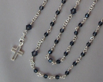 Montana Handcrafted Rosary with Sterling Silver Wire Wrapped Beads