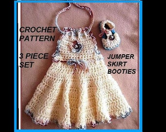 CROCHET PATTERN, Baby Dress and Booties - Girls Dress - newborn to age 12 and larger - number 553