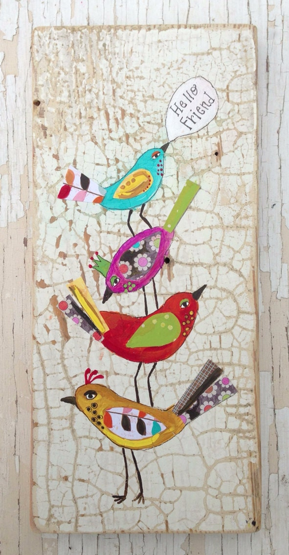Hello Birds Folk Home Decor Whimsical