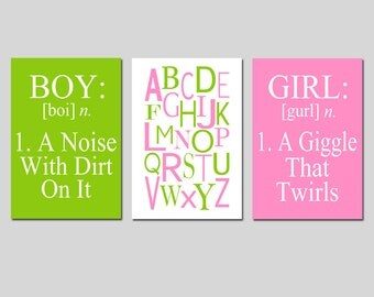 Boy Girl Alphabet Trio - Set of Three 11x17 Prints - Kids Wall Art - Boy Definition A Noise With Dirt - Girl Definition - CHOOSE YOUR COLORS
