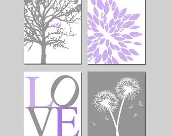 Lavender Purple Gray Baby Girl Nursery Art Quad -  Birds in a Tree, LOVE, Abstract Floral, Dandelions - Set of Four 11x14 Prints