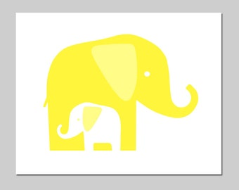 Modern Elephant Nursery Art - Mommy and Baby Elephants - 11x14 Print - Choose Your Colors - Shown in Lemon Yellow, Aqua, and More