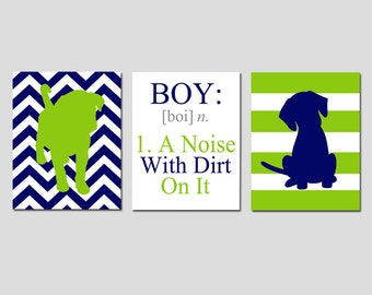 Baby Boy Nursery Art Trio - Chevron Stripe Puppy Dogs, Boy A Noise With Dirt On It Quote- Set of Three 11x14 Prints - CHOOSE YOUR COLORS