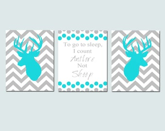 Baby Boy Nursery Decor Art Chevron Deer Trio - Set of Three 8x10 - To Go To Sleep, I Count Antlers Not Sheep Quote - CHOOSE YOUR COLORS
