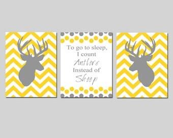 Baby Boy Nursery Art Trio - Set of Three 8x10 Prints - To Go To Sleep, I Count Antlers Instead of Sheep, Chevron Deer - Choose Your Colors