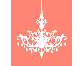 Modern Chandelier Silhouette - 8x10 Print - Decor - Wall Art - Nursery - Bathroom - CHOOSE YOUR COLORS - Shown in Coral Peach and More