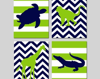 Boy Nursery Art Safari Reptile Jungle Animal Quad - Chevron Turtle, Monkey, Giraffe, Alligator Set of Four 8x10 Prints - CHOOSE YOUR COLORS