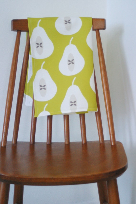 SALE Pear Tea towel in Chartreuse